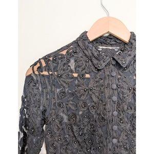 Vintage Black Beaded Cropped Top